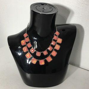 "Jewelry - Orange Silver Tone Statement ""C"" Signed Necklace"